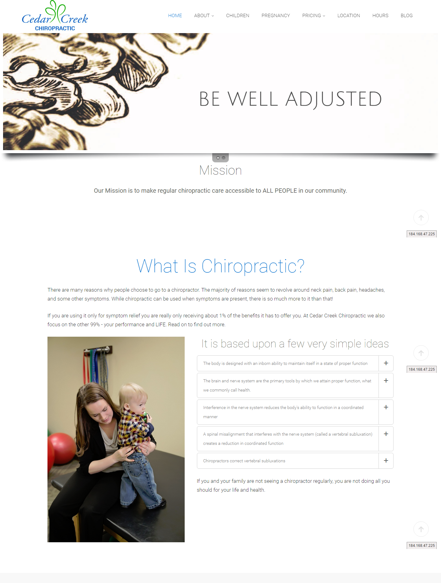 cedar creek chiro web design
